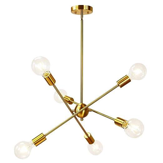 Amazon.com: Bowrain 6 Luces Fixture Moderna Sputnik Lámpara ...