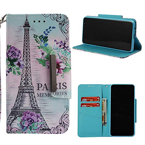 NVWA Compatible Samsung Galaxy A8 2018 Case,Galaxy A5 2018 Leather Wallet Phone Case [Kickstand Wrist Strap][Credit Card Slot] Magnetic Closure Stand Flip Full Body Protective Cover (Eiffel Tower)