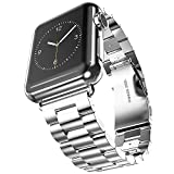 Apple Watch Band, Oittm 38mm Stainless Steel Metal Replacement Strap Classic Apple iWatch Wrist Band with Double Button Folding Clasp for Apple Watch (38mm Silver)
