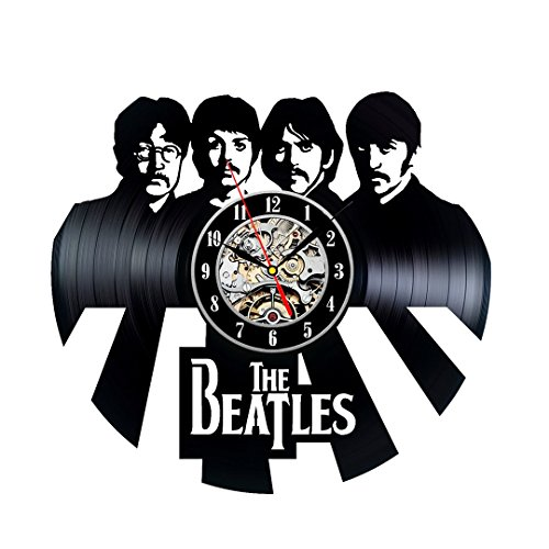 Handmade Vintage Vinyl Record Beatles Theme Wall Clock