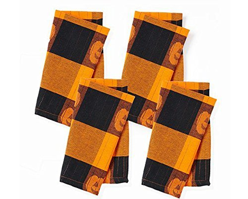 Halloween Pumpkin Orange Plaid Cloth Napkins - 4