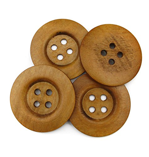 """ALL in ONE 10pcs Light Brown Large 4 Hole Sewing Wood Buttons with Wide Edge 50mm(2"""") (Doll Wood Vintage)"""