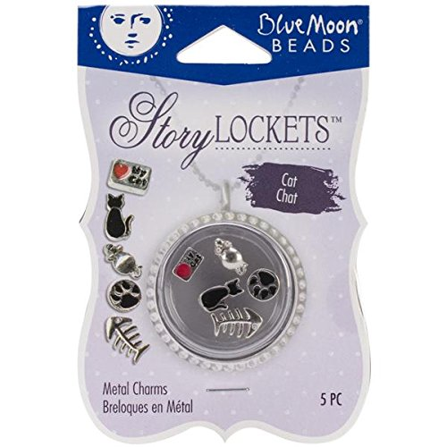 Blue Moon Beads Story Lockets Metal Charm, Cat, Assortment, 5-Pack