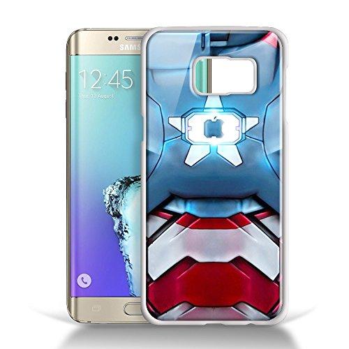 Iron Patriot body armor for Samsung Galaxy S6 EDGE White RUBBER Case (Iron Man Costum)