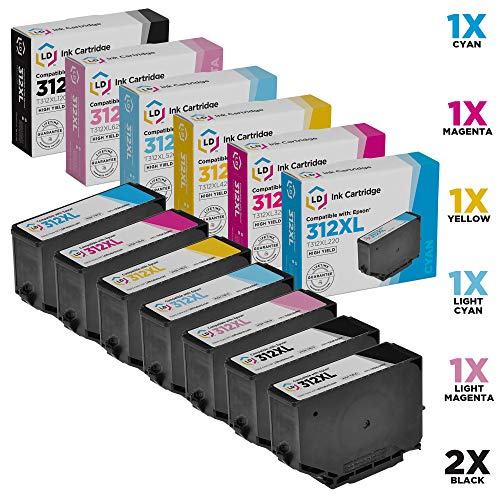 LD Remanufactured Ink Cartridge Replacements for Epson 312XL High Yield (2 Black, 1 Cyan, 1 Magenta, 1 Yellow, 1 Light Cyan, 1 Light Magenta, 7-Pack) ()