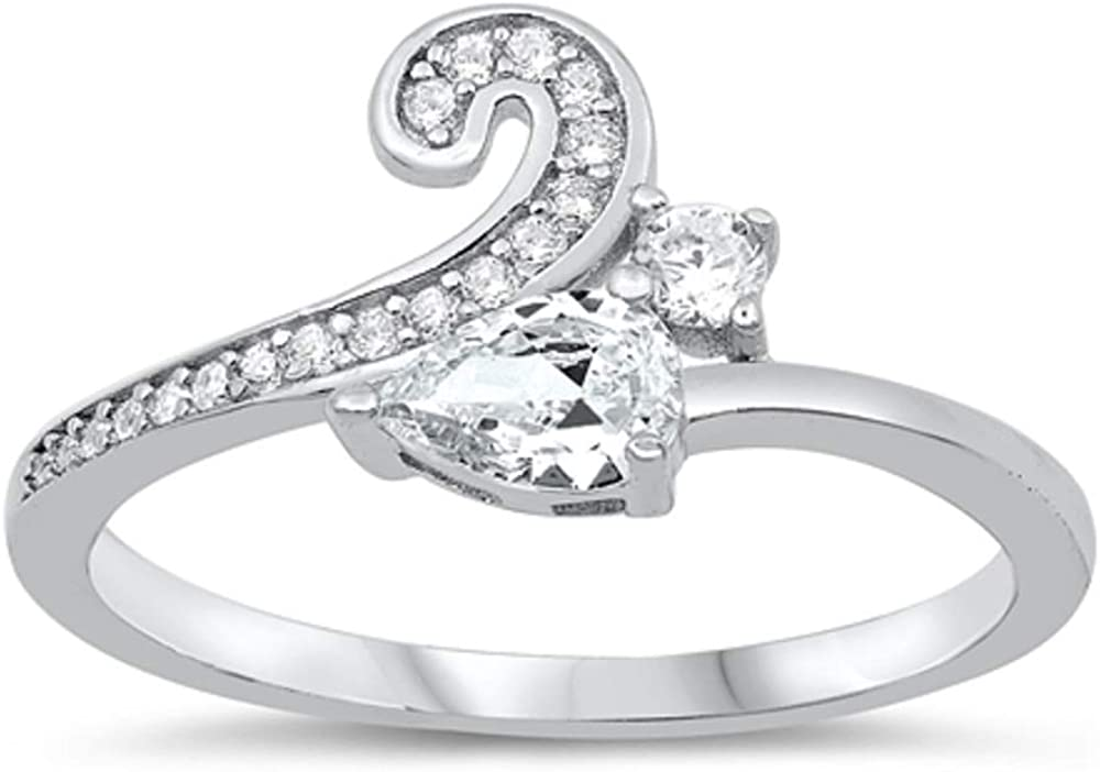 Princess Kylie Clear Cubic Zirconia Cat Tail Design Ring Sterling Silver