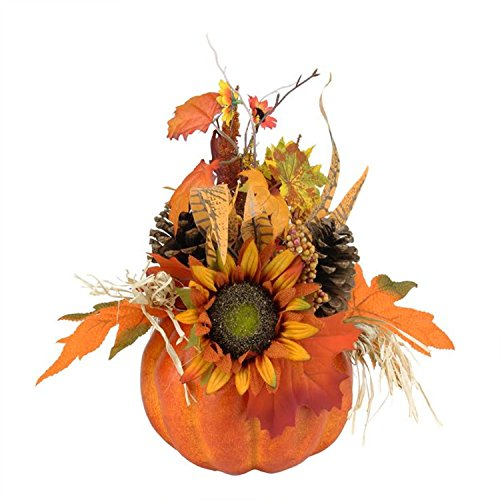 Northlight Autumn Harvest Artificial Pumpkin with Mixed Fall Leaves Mums and Pine Cones Decoration, (Fall Harvest Pumpkin)