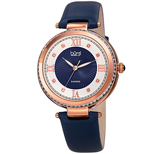 (Burgi Leather Women's Watch - Baguette Crystal Studded Bezel - Guilloche Dial Genuine Diamond Markers - Blue Genuine Leather Skinny Strap - BUR202BU)