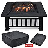 Topeakmart Garden Metal Fire Pit Brazier Square Table Patio Heater Stove with Rain&Dust Protective Cover