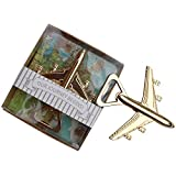 """Youkwer 20 PCS Skeleton Airplane Bottle Opener with """"OUR JOURNEY BEGINS""""Letters Exquisite Packaging for Wedding Party Favors & Decorations (Pack of 20 Airplane,Dark Gold)"""