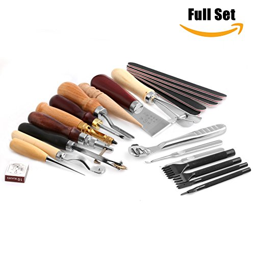 Delight eShop Deluxe Leathercraft Set, Hand Sewing Tool Kit, 1 set, for Stitching Carving Working Sewing Saddle Groover etc