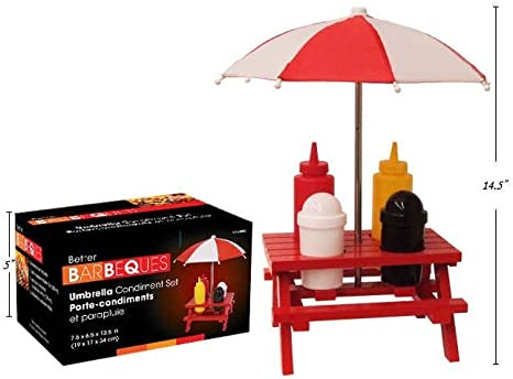 Bbq Picnic Bench Condiment Set With Umbrella Includes Salt Pepper Shaker And Mustard Ketchup Bottles Amazon Ca Home Kitchen