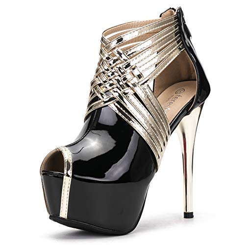 fereshte Womens Sexy Peep-Toe Ankle Strappy Platform Stiletto High Heels Sandals PU Black US 10
