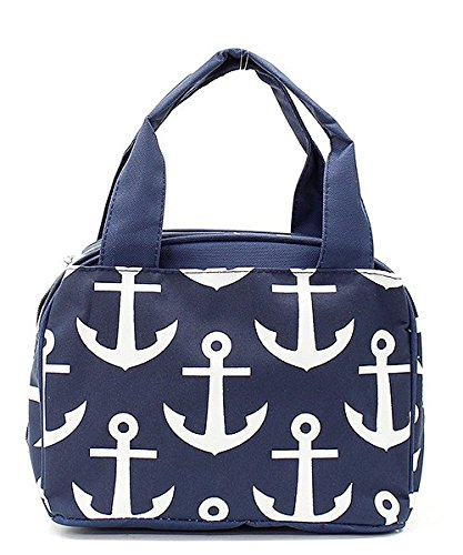 Navy Blue Nautical Anchor Print Canvas Small Insulated Lunch Tote Bag by Handbag Inc (Image #3)