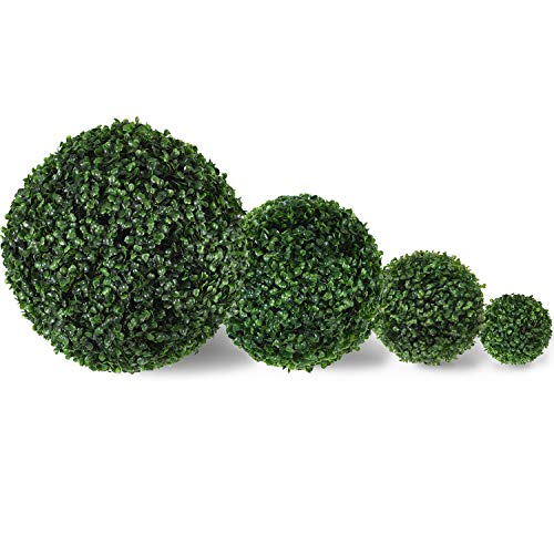 - Artificial Boxwood Ball Topiary,Artificial Boxwood Ball Round Topiary for Front Patio,Planter,Deck,Garden,Backyard and Home Decor,4 Pack (8