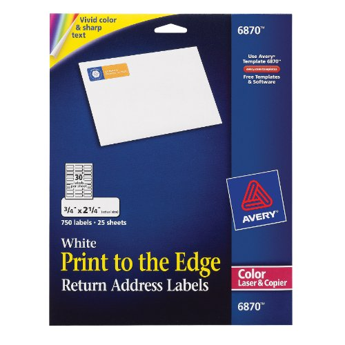 """Free Avery White Laser Labels for Color Printing, 3/4"""" x 2-1/4"""", 750 per Pack"""