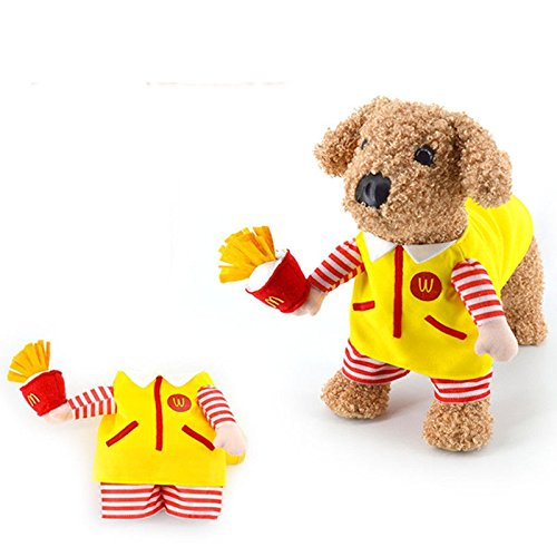 Cute Pet Dog Cat Costume Suit Puppy Clothes for Halloween Party BIG M Burger Outfit Dress (L)