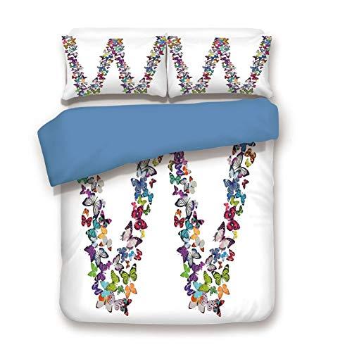 (Duvet Cover Set King Size, Decorative 3 Piece Bedding Set with 2 Pillow Shams,Collection of Butterflies Language of Grace Alphabet Font Letter W Girls Design Decorative)