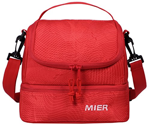 MIER Double Decker Insulated Lunch Box Pink Soft Cooler Bag Thermal Lunch Tote with Shoulder Strap (Red)