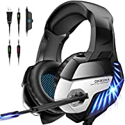 #LightningDeal ONIKUMA Gaming Headset for PS5 PS4 Controller Xbox One (Adapter Not Included), Noise Cancelling Over Ear Headphones with Mic, 7.1 Surround Sound, Blue LED Light Headset for NS PC Mac Laptop - K5 Pro