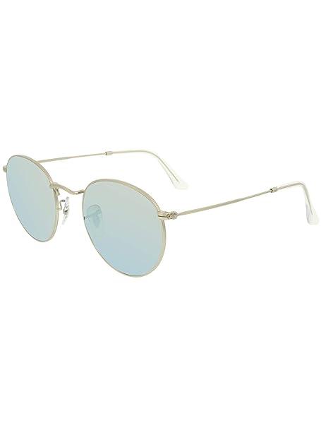 Ray-Ban ROUND METAL plata mate de plata de las gafas de sol de Flash