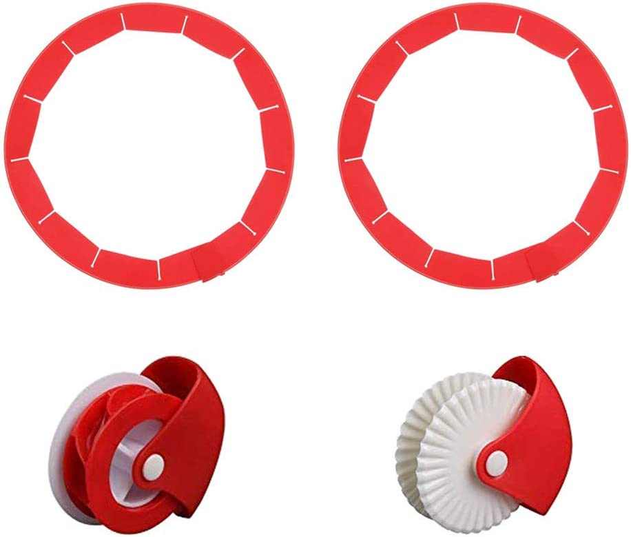 Adjustable Pie Crust Shield and Pastry Wheel Decorator + Cutter Silicone Pie Protectors Cover Kitchen Tool for Baking Pie Fit 8 Inch to 11.4 Inch Diameter Pies 4 Pack