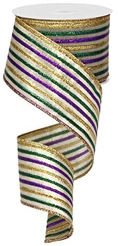 Fleur Stripe - Metallic Stripe Wired Edge Ribbon, 10 Yards (Mardi Gras Thin Stripe)