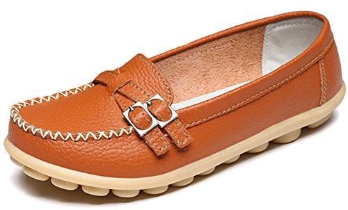 Summerwhisper Mujeres Casual Cinturón Abrochado Slip-on Driving Boat Zapatos Mocasines De Cuero Naranja