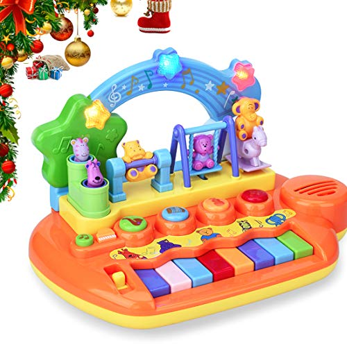 Forstart Learn-to-Play Musical Toy Piano with 8 Keys Keyboard Animal Playground LED Light Early Education Instrument Favorites Busy Babies Toddlers Preschoolers Learning for $<!--$29.99-->