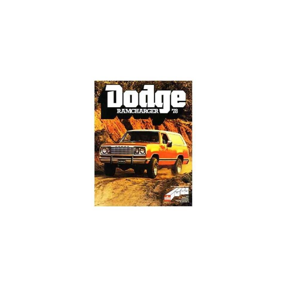 1978 Dodge RAMCharger Sales Brochure Literature Book Advertisement Options
