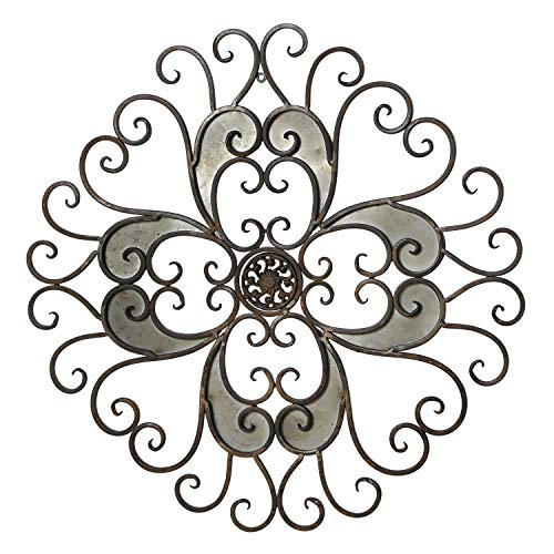 (Adeco Rustic Urban Flower Scrolled Design, Metal Wall Decor for Nature Home Art Decoration & Kitchen Holiday Wall Decorations, Christmas Wall Art Gifts - 22.5x22.5 Inches)
