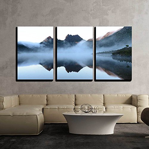 the Reflex of Cradle Mountain on the Surface of Dove Lake During Morning x3 Panels