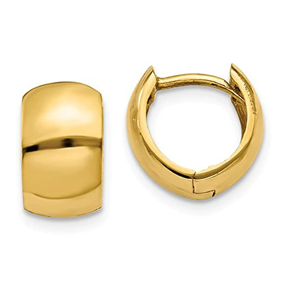 Tiny 14 K Yellow Gold Wide Hinged Huggie Hoop Earrings .40 In (10mm) (6mm Wide) by Amazon