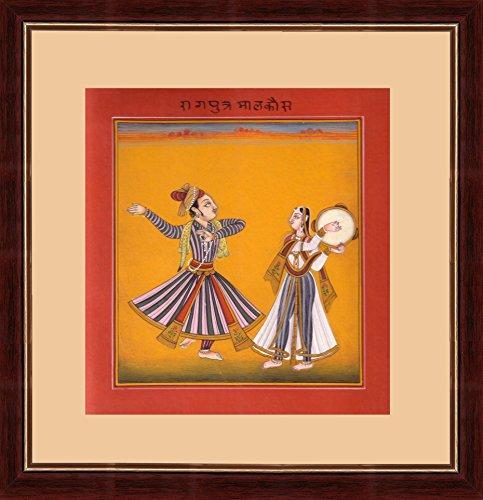 (Splendid Indian 16th Century Basohli Ragamala 'Ragaputra of Malkaus Raga' Indian Miniature Painting on Old Handmade Paper with Natural Colours)