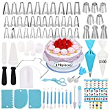 Cake Decorating Supplies Kit,170 PCS Baking Supplies Set with Icing Piping Tips & Russian Nozzles with Pattern Chart, Rotating Turntable Stand, Frosting, Piping Bags, Icing Spatula and Pastry Tools