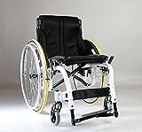 "Karman S-ATX-1816WT S-ergo ATX Ergonomic Active Wheelchair Design, Folding Frame With Rigid Collapsing Mechanism, 18""x16"" seat, Color Aspen White w/ Upgrade Spinergy Wheels / Yellow Tires"