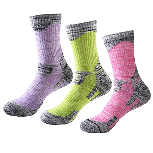 3 Pack Women\'s Socks,HONG111 Sport Socks Hiking Camping Skiing Multi Performance Winter Socks (Fits Shoe Size 7-10.5 Size)