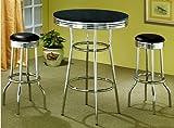 MPN: 2405-SET 50's Soda Fountain in Retro Chrome 3 Piece Counter Height Bar Table Set - Coa...
