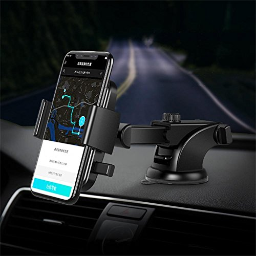 Maoblog Car Phone Mount Anti-Skid and Anti-Scratch Leather Dashboard & Windshield Adjustable One Touch Long Arm Car Holder for iPhone X 8 7s 6s Plus Samsung Galaxy S8 S7 S6 4-6.2 inches Phone. (Black)
