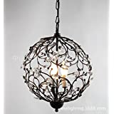 LINA-Contemporary bedroom European-American restaurant retro Iron Crystal branch chandelier , mute black