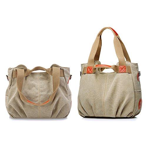 Women's Canvas Travel Bag Student Drawstring Bucket Backpack (Beige) - 7