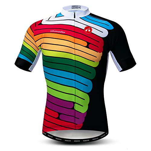 Men's Shorts Sleeve Cycling Jersey Top Bicycle Clothing Biking Bike Shirt Rainbow Style Size XL ()