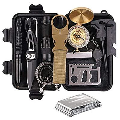 TRSCIND Survival Gear Kits 13-in-1 Outdoor Emergency SOS Survive Tool for Wilderness/ Trip/ Cars/ Hiking/ Camping Gear - Wire Saw, Emergency Blanket, Flashlight, Tactical Pen, Water Bottle Clip ect by TRSCIND