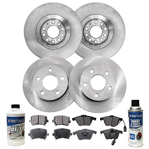 (Detroit Axle - All (4) Front 321mm and Rear 288mm Disc Brake Rotors w/Ceramic Pads w/Hardware & Brake Cleaner & Fluid for 2006 2007 2008 2009 Audi A4/ A4)