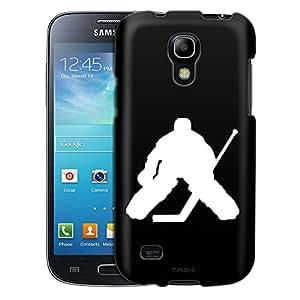 Samsung Galaxy S4 Mini Case, Slim Fit Snap On Cover by Trek Silhouette Ice Hockey Goalie on Black Case