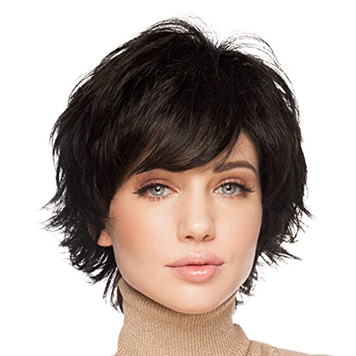 BLONDE UNICORN Natural Short Wigs for Women Human Hair Black Brown