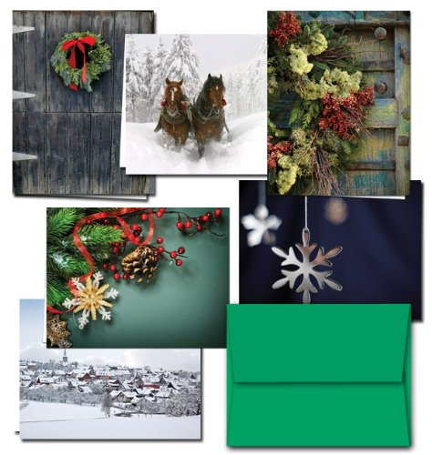 72 Holiday Cards - Winter Greetings - 6 Designs - Blank Cards - Green Envelopes Included]()