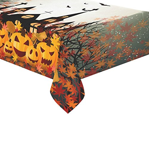 (InterestPrint Home Decoration Happy Halloween Pumpkin Maple Leaf Tablecloth Set 60 X 104 Inches - Halloween Gifts Purple Tablecover Desk Table Cloth Cover for Wedding Party)