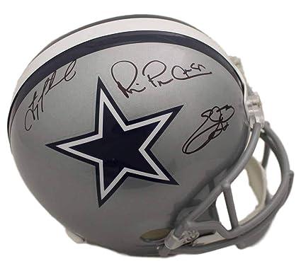 ccf1e0520 Image Unavailable. Image not available for. Color  Dallas Cowboys Triplets  Autographed Replica Helmet Aikman Emmitt ...