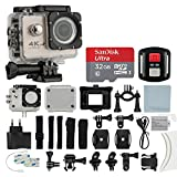 4K HD DV 16MP Sports Action Camera, (Gold) - Wi-Fi + Wrist RF + 170° Wide Angle Lens + Waterproof Case & Backdoor + SanDisk 32GB Memory Card + Bike Mount + Clip Holder + Ultimate Accessory Bundle